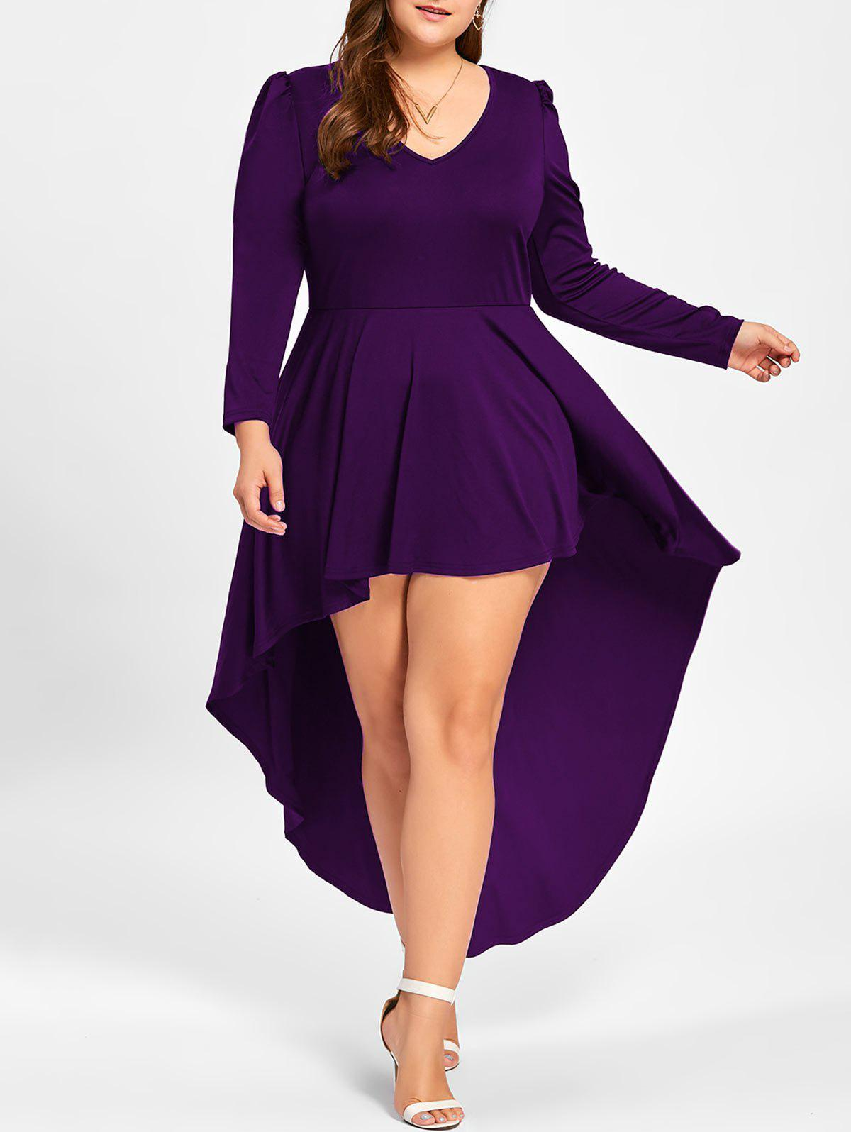 Plus Size Long Sleeve Cocktail DressWOMEN<br><br>Size: 3XL; Color: DEEP PURPLE; Style: Club; Material: Polyester,Spandex; Silhouette: A-Line; Dresses Length: Ankle-Length; Neckline: V-Neck; Sleeve Length: Long Sleeves; Pattern Type: Solid Color; With Belt: No; Season: Fall,Spring; Weight: 0.4500kg; Package Contents: 1 x Dress;
