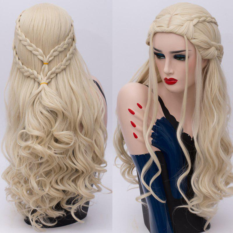 Long Wavy Braids Synthetic Game of Thrones Daenerys Targaryen Cosplay WigHAIR<br><br>Color: LIGHT GOLD; Type: Full Wigs; Style: Wavy; Material: Synthetic Hair; Bang Type: Middle; Length: Long; Length Size(CM): 70; Weight: 0.3980kg; Package Contents: 1 x Wig;