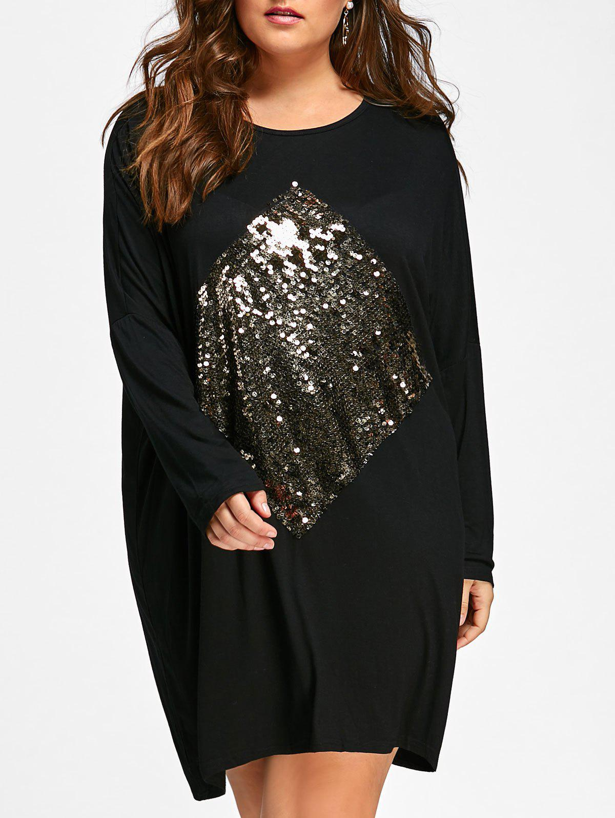 Plus Size Sequin Embellished Long Sleeve Tunic DressWOMEN<br><br>Size: ONE SIZE; Color: BLACK; Style: Casual; Material: Polyester; Silhouette: Straight; Dresses Length: Mini; Neckline: Scoop Neck; Sleeve Length: Long Sleeves; Embellishment: Sequins; Pattern Type: Argyle; With Belt: No; Season: Fall,Spring; Weight: 0.4200kg; Package Contents: 1 x Dress;