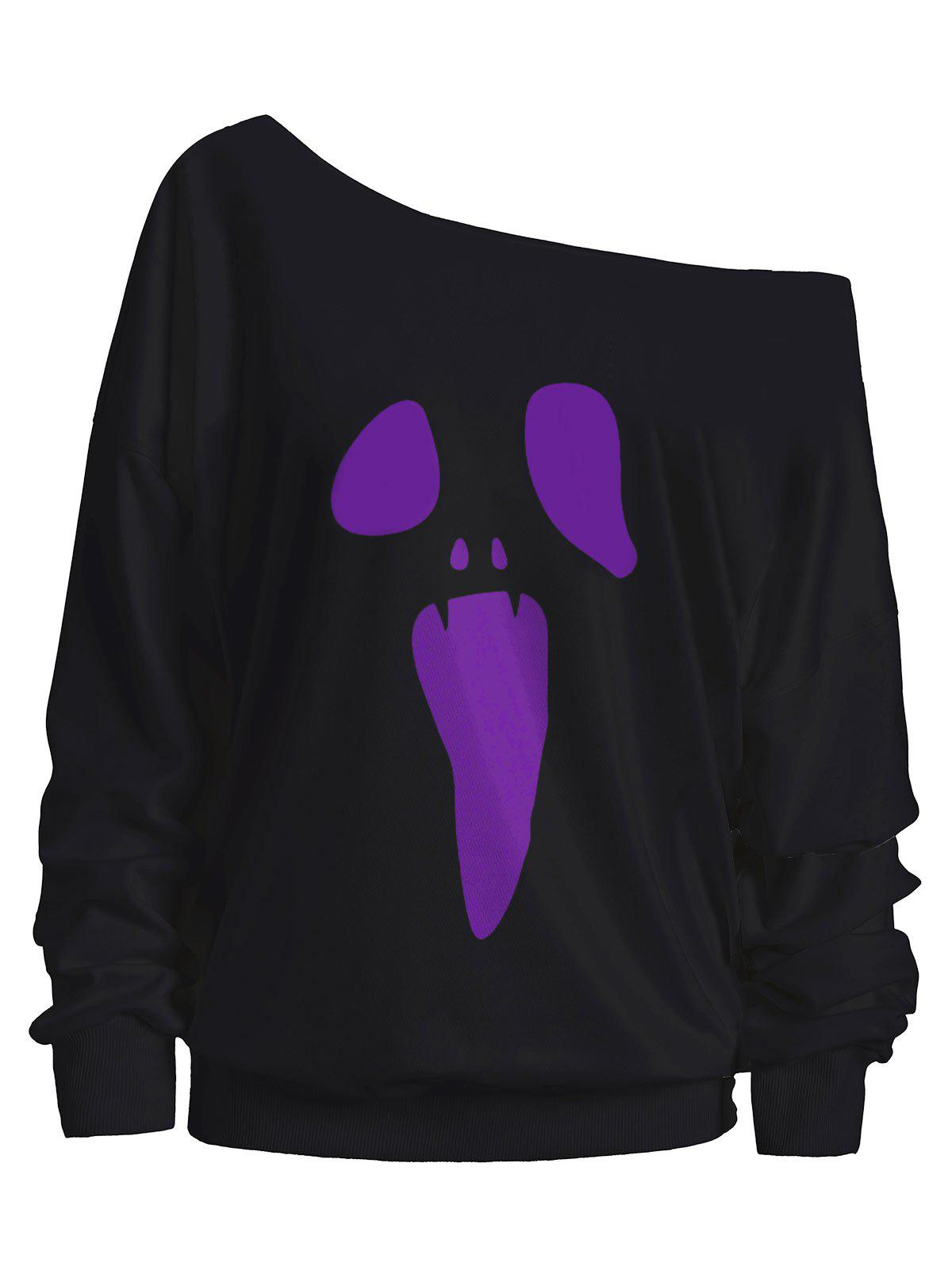 Skew Neck Halloween Ghost SweatshirtWOMEN<br><br>Size: L; Color: PURPLE; Material: Cotton,Polyester; Shirt Length: Regular; Sleeve Length: Full; Style: Casual; Pattern Style: Print; Season: Fall; Weight: 0.3500kg; Package Contents: 1 x Sweatshirt;