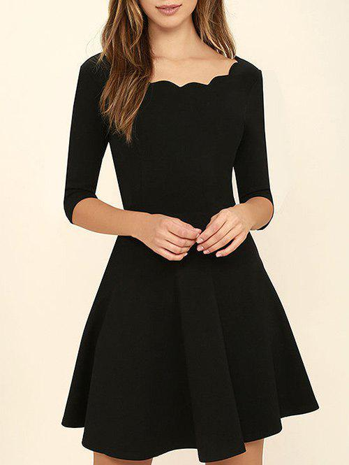 Scoop Neck A Line DressWOMEN<br><br>Size: S; Color: BLACK; Style: Brief; Material: Polyester,Spandex; Silhouette: A-Line; Dress Type: Fit and Flare Dress; Dresses Length: Mini; Neckline: Scoop Neck; Sleeve Length: 3/4 Length Sleeves; Pattern Type: Solid Color; With Belt: No; Season: Fall,Spring; Weight: 0.2700kg; Package Contents: 1 x Dress; Occasion: Formal,Going Out;