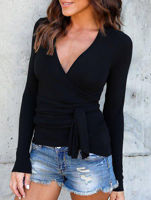 Fancy Surplice Plunge Long Sleeve Tee