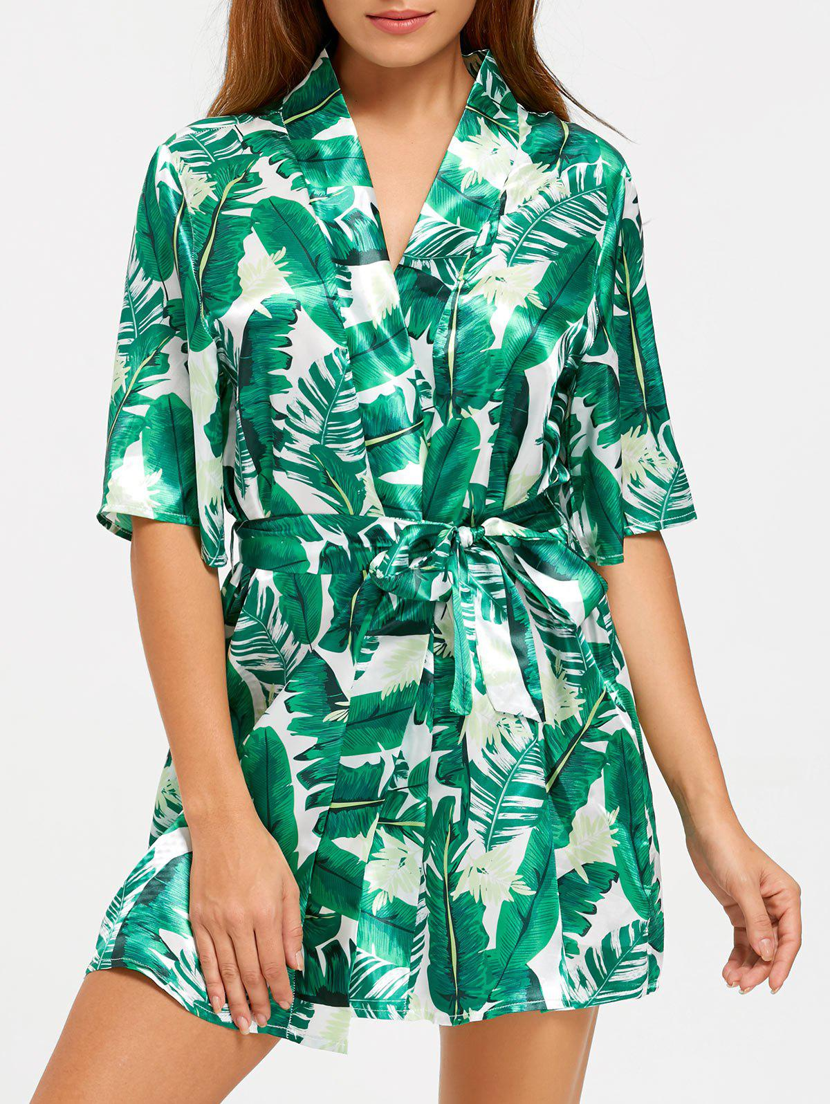 Wrap Tropical Leaves Print Sleep RobeWOMEN<br><br>Size: 2XL; Color: GREEN; Material: Polyester; Pattern Type: Print; Weight: 0.1700kg; Package Contents: 1 x Robe  1 x Belt;
