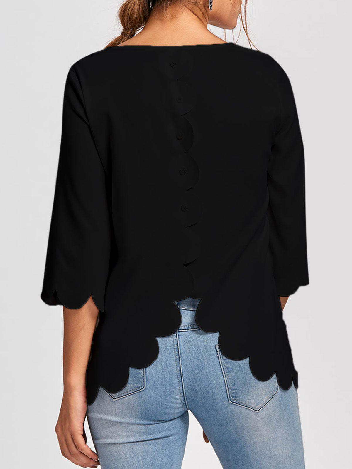 Button Embellished Scalloped Edge BlouseWOMEN<br><br>Size: L; Color: BLACK; Occasion: Casual,Evening,Party; Style: Fashion; Material: Polyester; Shirt Length: Long; Sleeve Length: Full; Collar: Round Neck; Pattern Type: Solid; Embellishment: Button; Season: Fall,Spring,Summer; Weight: 0.1700kg; Package Contents: 1 x Blouse;