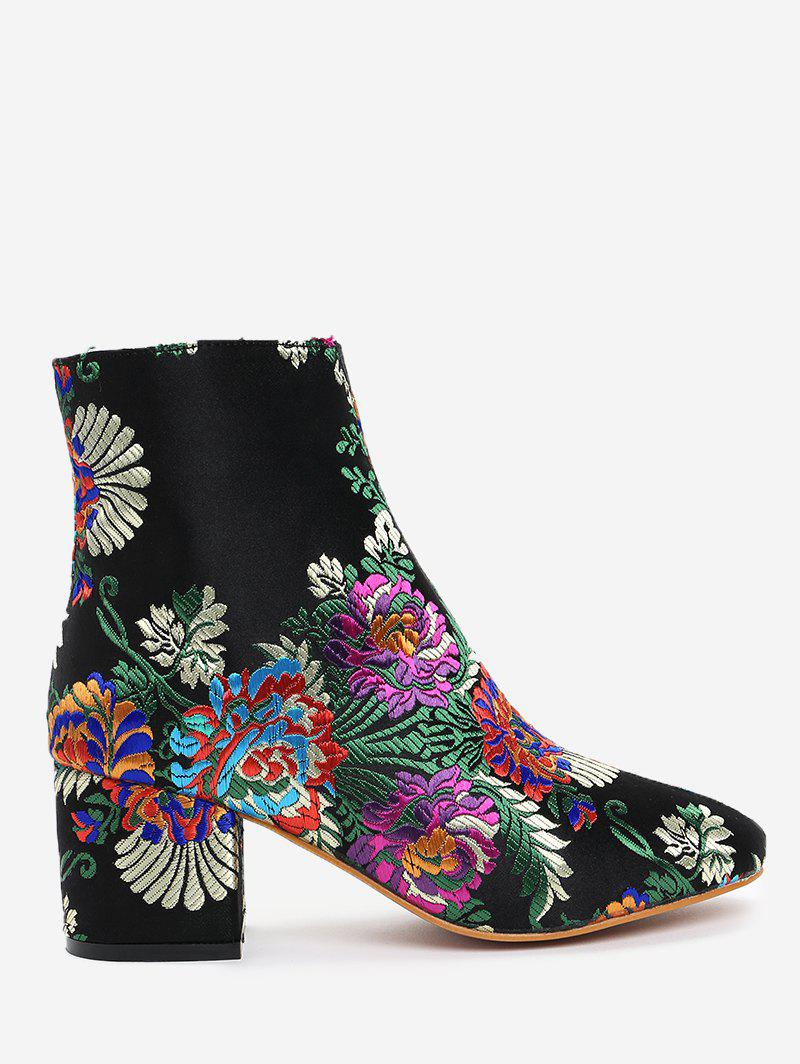 Ankle Embroidery Floral BootsSHOES &amp; BAGS<br><br>Size: 37; Color: BLACK; Gender: For Women; Boot Type: Fashion Boots; Season: Spring/Fall,Winter; Boot Height: Ankle; Toe Shape: Round Toe; Heel Type: Chunky Heel; Heel Height Range: Med(1.75-2.75); Heel Height: 6CM; Pattern Type: Floral; Closure Type: Zip; Shoe Width: Medium(B/M); Upper Material: Satin; Weight: 1.1200kg; Package Contents: 1 x Boots (pair);
