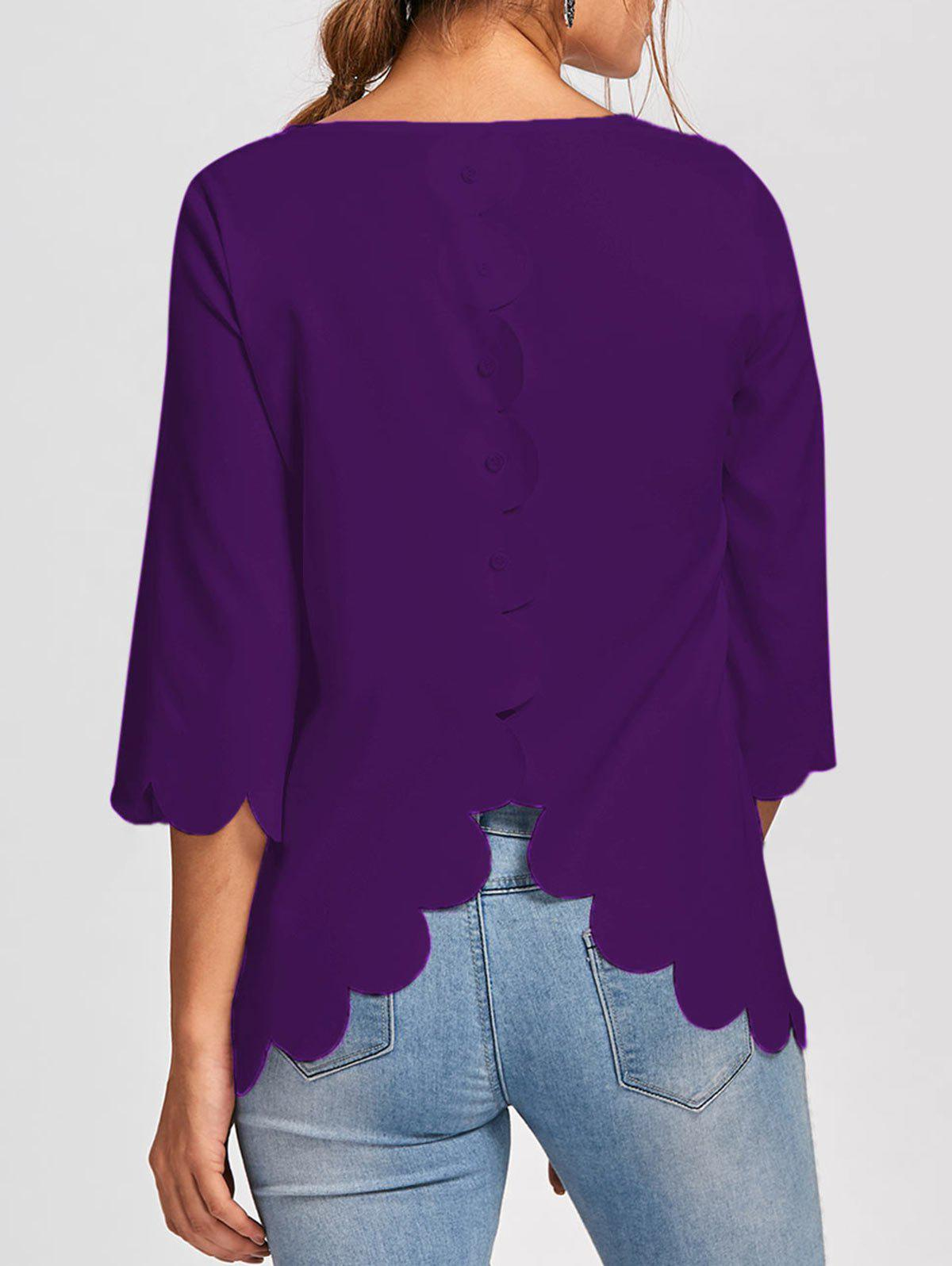 Button Embellished Scalloped Edge BlouseWOMEN<br><br>Size: M; Color: PURPLE; Occasion: Casual,Evening,Party; Style: Fashion; Material: Polyester; Shirt Length: Long; Sleeve Length: Full; Collar: Round Neck; Pattern Type: Solid; Embellishment: Button; Season: Fall,Spring,Summer; Weight: 0.1700kg; Package Contents: 1 x Blouse;