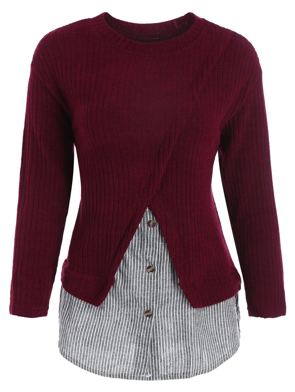 Stripe Panel Overlay Plus Size Ribbed SweaterWOMEN<br><br>Size: 5XL; Color: WINE RED; Type: Pullovers; Material: Polyester; Sleeve Length: Full; Collar: Crew Neck; Style: Casual; Season: Fall,Winter; Pattern Type: Striped; Weight: 0.3200kg; Package Contents: 1 x Sweater;