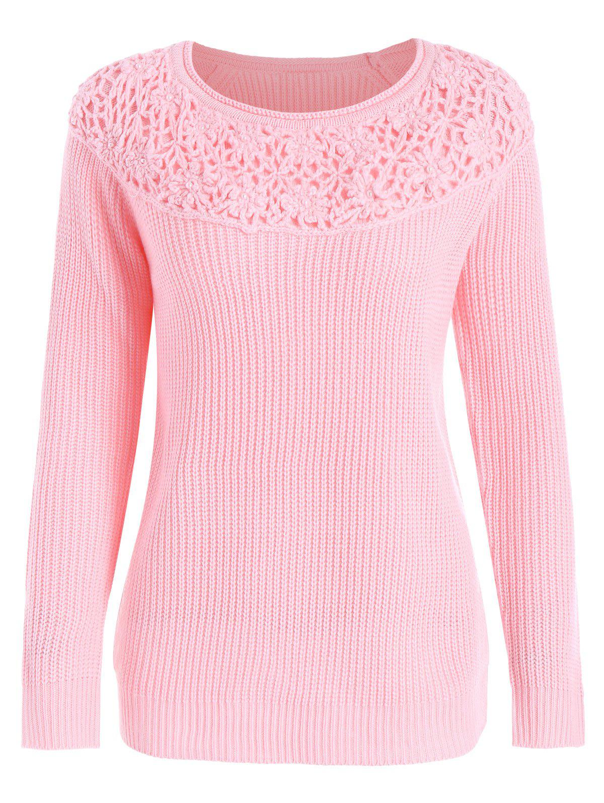 Plus Size Floral Crochet Design Beaded SweaterWOMEN<br><br>Size: 2XL; Color: PINK; Type: Pullovers; Material: Polyester; Sleeve Length: Full; Collar: Crew Neck; Technics: Flat Knitted; Style: Fashion; Season: Fall,Winter; Pattern Type: Solid; Weight: 0.4500kg; Package Contents: 1 x Sweater;