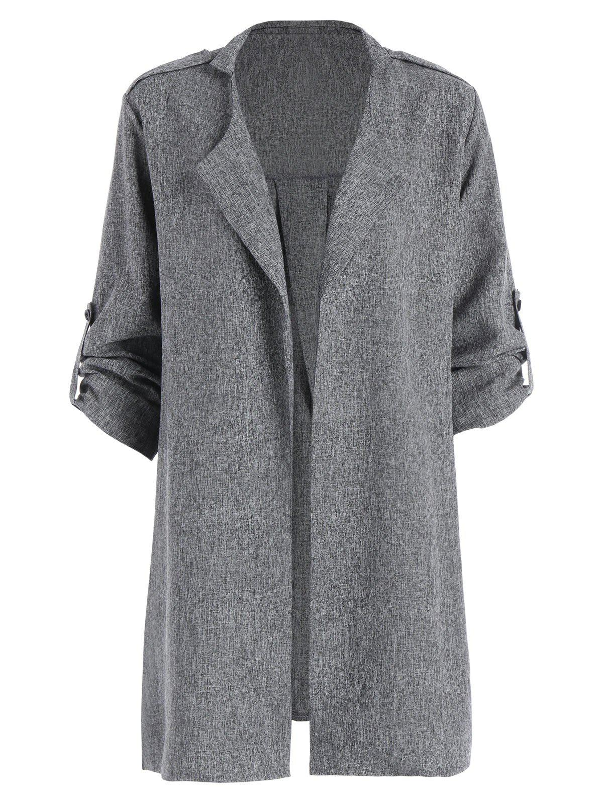 Marled Roll Sleeve Plus Size Long Trench CoatWOMEN<br><br>Size: 5XL; Color: GRAY; Clothes Type: Trench; Material: Polyester; Type: Slim; Shirt Length: Long; Sleeve Length: Full; Collar: Turn-down Collar; Pattern Type: Solid; Style: Fashion; Season: Fall,Spring,Winter; Weight: 0.3300kg; Package Contents: 1 x Coat;