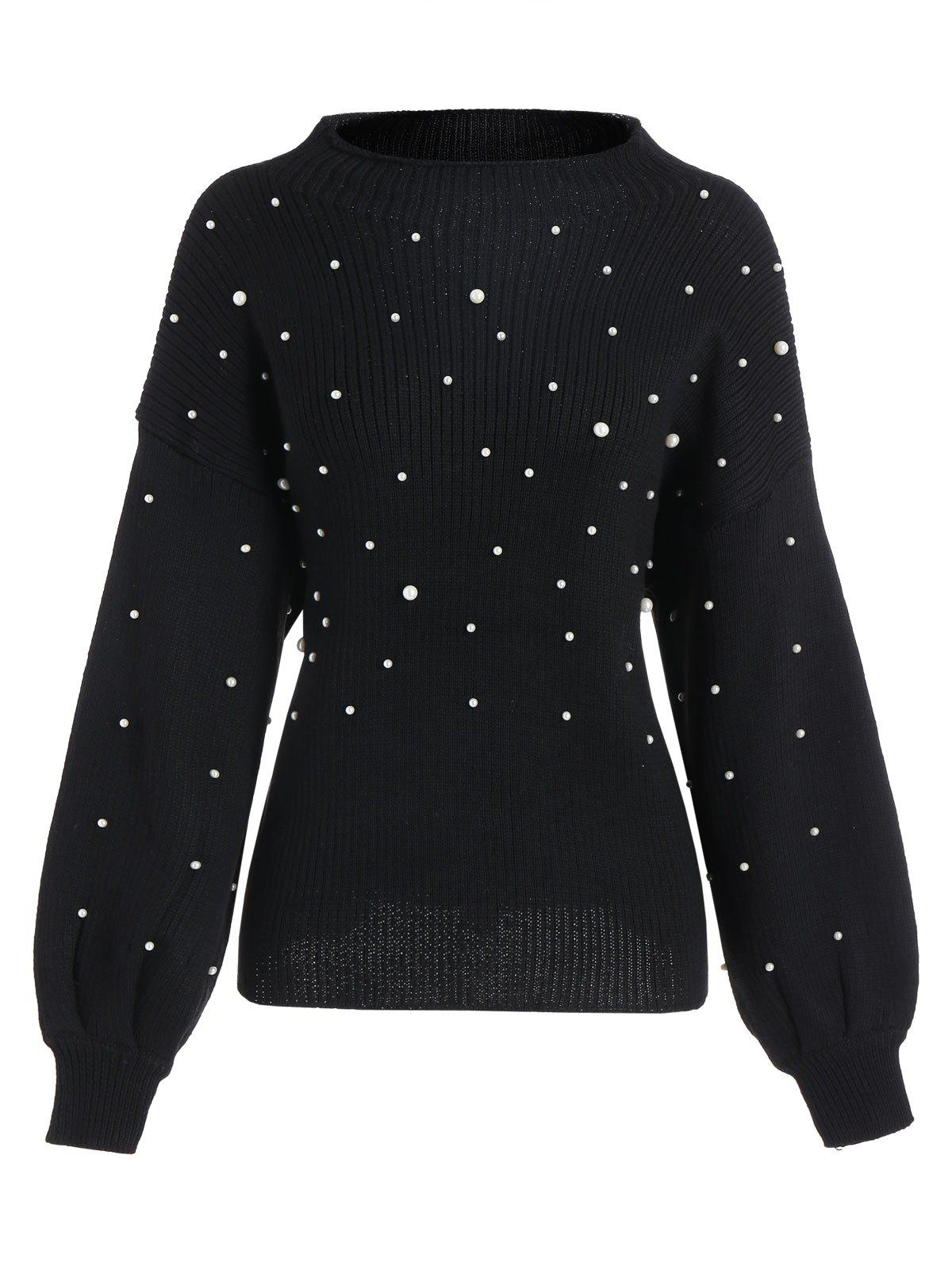Unique Plus Size Beading Cute Mock Neck Sweater