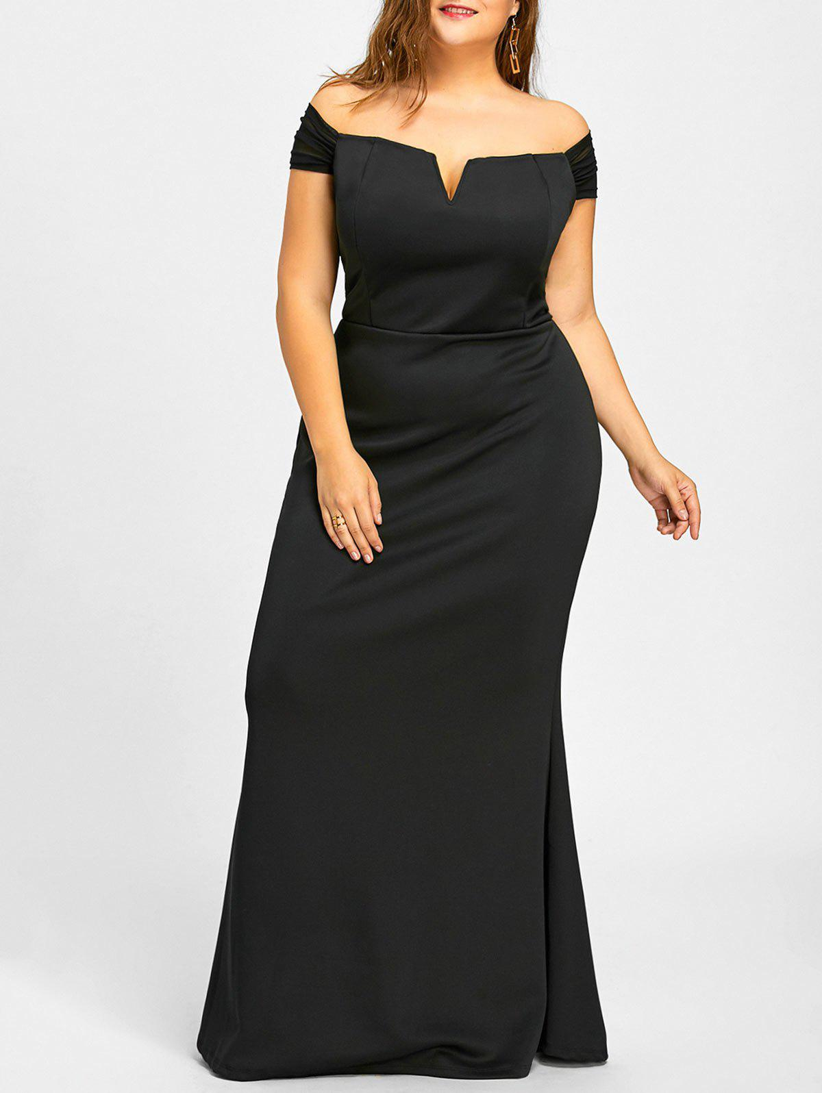 Plus Size Mermaid Off The Shoulder Formal DressWOMEN<br><br>Size: 2XL; Color: BLACK; Style: Casual; Material: Cotton,Polyester; Silhouette: Trumpet/Mermaid; Dresses Length: Floor-Length; Neckline: Off The Shoulder; Sleeve Length: Short Sleeves; Pattern Type: Solid; With Belt: No; Season: Fall,Spring,Summer,Winter; Weight: 0.7950kg; Package Contents: 1 x Dress;