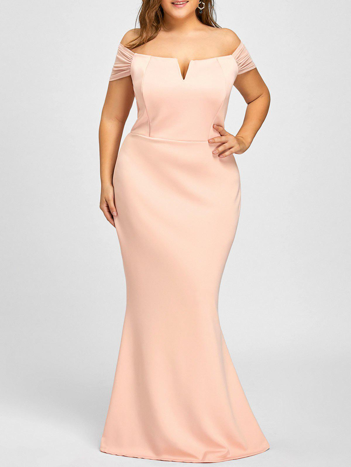 Plus Size Mermaid Off The Shoulder Formal DressWOMEN<br><br>Size: 3XL; Color: PINK; Style: Casual; Material: Cotton,Polyester; Silhouette: Trumpet/Mermaid; Dresses Length: Floor-Length; Neckline: Off The Shoulder; Sleeve Length: Short Sleeves; Pattern Type: Solid; With Belt: No; Season: Fall,Spring,Summer,Winter; Weight: 0.7950kg; Package Contents: 1 x Dress;