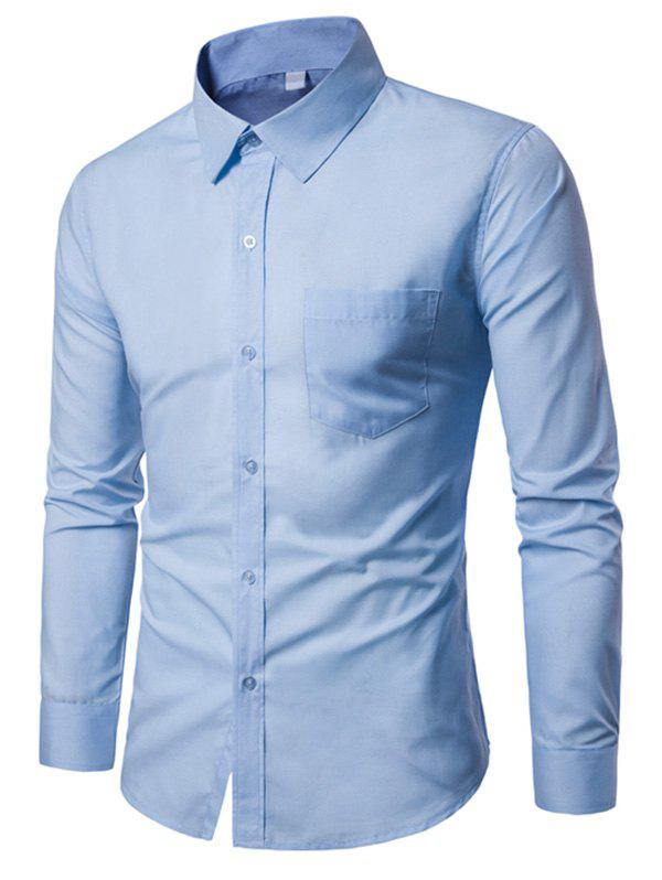 Chest Pocket Slim Fit Long Sleeve ShirtMEN<br><br>Size: M; Color: BLUE; Shirts Type: Casual Shirts; Material: Cotton,Polyester; Sleeve Length: Full; Collar: Turn-down Collar; Pattern Type: Solid; Weight: 0.2900kg; Package Contents: 1 x Shirt;