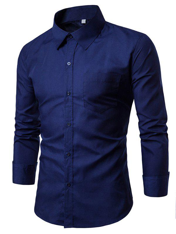 Chest Pocket Slim Fit Long Sleeve ShirtMEN<br><br>Size: M; Color: CADETBLUE; Shirts Type: Casual Shirts; Material: Cotton,Polyester; Sleeve Length: Full; Collar: Turn-down Collar; Pattern Type: Solid; Weight: 0.2900kg; Package Contents: 1 x Shirt;