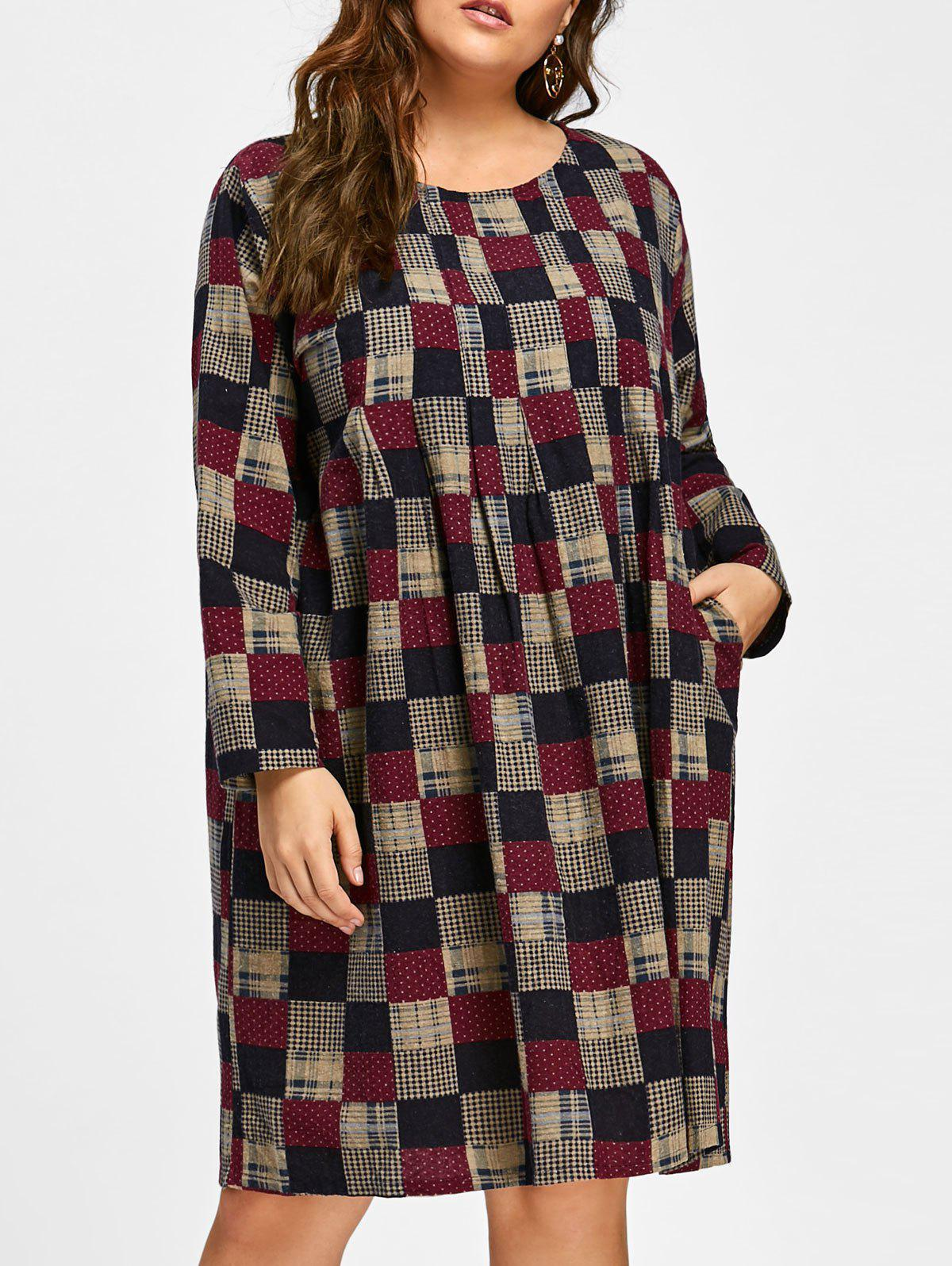 Plus Size Plaid High Waist Loose Smock DressWOMEN<br><br>Size: ONE SIZE; Color: MULTICOLOR; Style: Casual; Material: Polyester; Silhouette: A-Line; Dresses Length: Knee-Length; Neckline: Round Collar; Sleeve Length: Long Sleeves; Waist: High Waisted; Pattern Type: Plaid; With Belt: No; Season: Fall,Winter; Weight: 0.4200kg; Package Contents: 1 x Dress;
