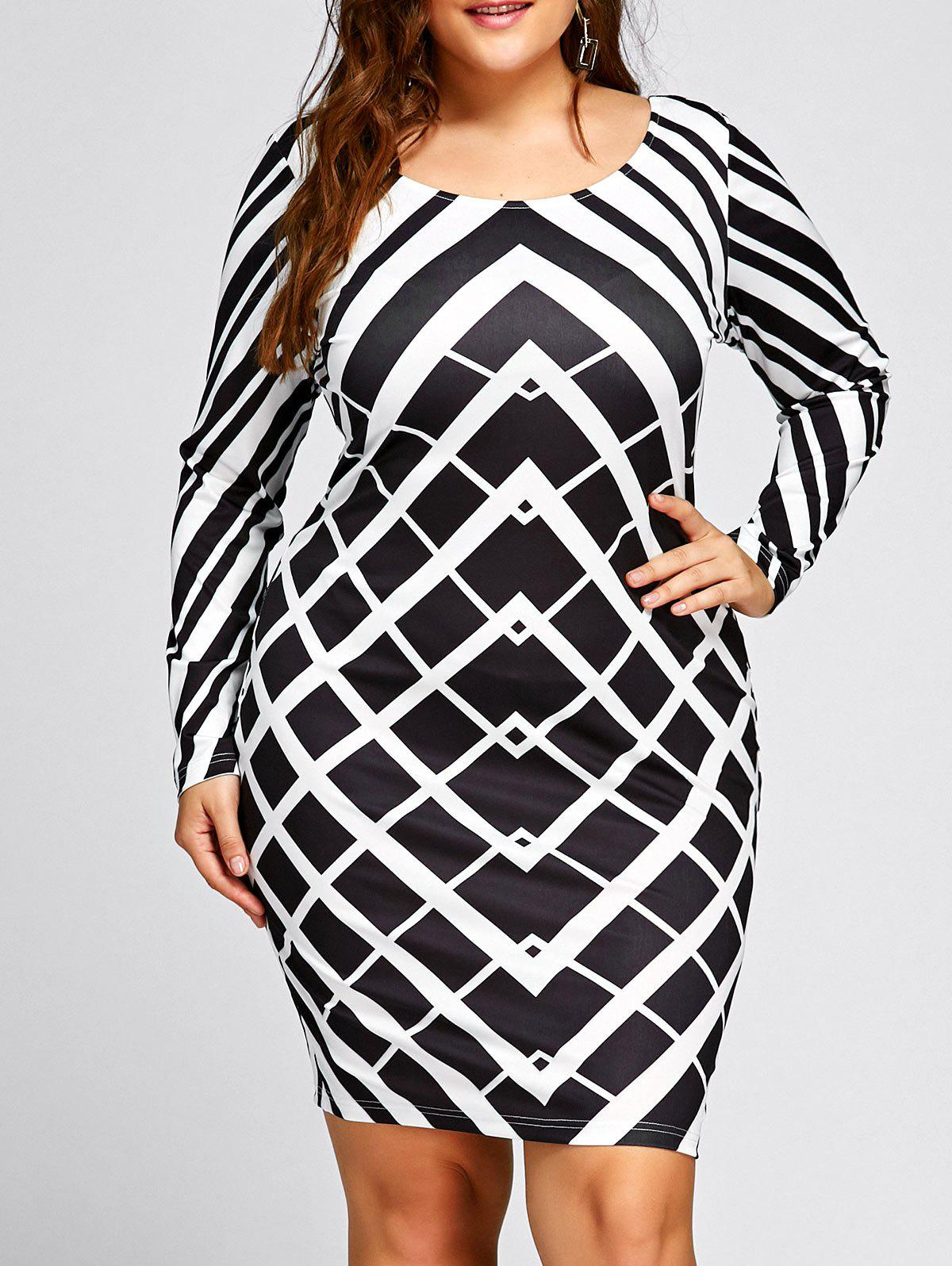 Plus Size Long Sleeve Geometric Print DressWOMEN<br><br>Size: 3XL; Color: WHITE AND BLACK; Style: Brief; Material: Polyester,Spandex; Silhouette: Bodycon; Dresses Length: Mini; Neckline: Scoop Neck; Sleeve Length: Long Sleeves; Pattern Type: Geometric; With Belt: No; Season: Fall,Spring; Weight: 0.2990kg; Package Contents: 1 x Dress;