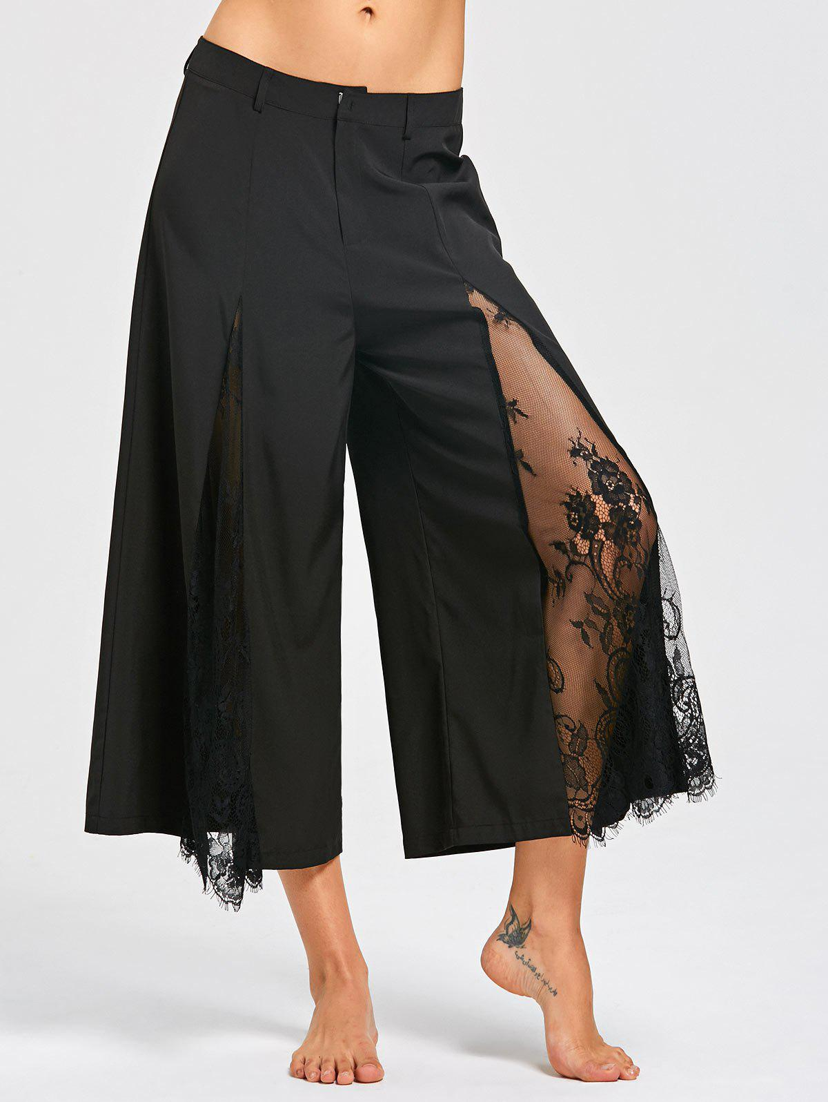 Outfits Eyelash Lace Panel Wide Leg Pants