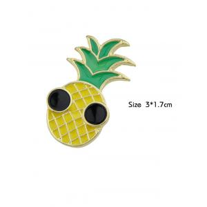 Funny Fruit Pineapple Embellished Brooch - YELLOW