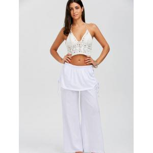 Skirted Wide Leg Pants - WHITE S