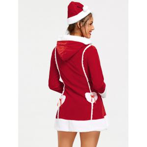 Long Sleeve Hooded Zip Christmas Dress -