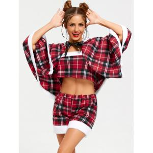 Christmas Checked Hooded Cape - RED ONE SIZE