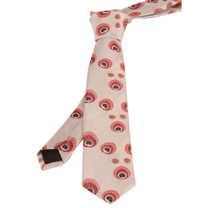 Vintage Peacock Feather Skinny Necktie - WHITE