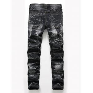 Straight Leg Snow Wash Biker Jeans - BLACK 42
