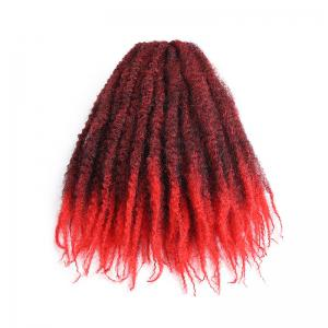 Long Fluffy Afro Kinky Curly Braids Synthetic Hair Weave - RED WITH BLACK