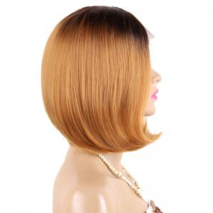 Short Middle Part Straight Bob Ombre perruque en dentelle en dentelle synthétique -