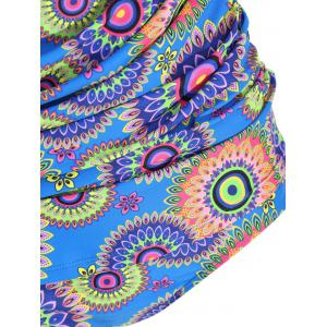 Tribal Print Plus Size Halter Tankini Set - COLORMIX 3XL