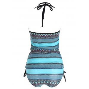 Ensemble Tribal Print Backless Plus Size Tankini - Multicolore 2XL