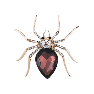 Rhinestone Embellished Spider Shape Alloy Brooch -
