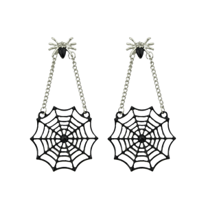 Spider Web Pendant Embellished Stud Drop Earrings -