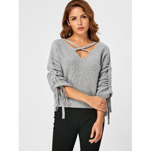 Drop Shoulder Ruched Criss Cross Sweater - GRAY XL