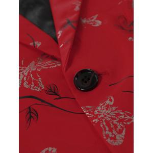 Metallic Butterfly Floral Print Casual Blazer - RED S