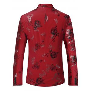 Metallic Butterfly Floral Print Casual Blazer - RED M