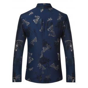 Metallic Butterfly Floral Print Casual Blazer - BLUE L