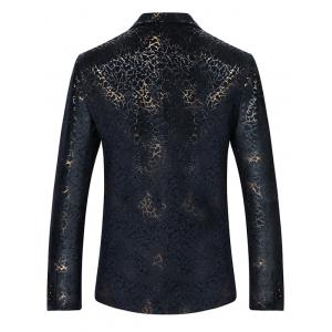 Metallic Brocade Print Casual Blazer - COLORMIX M