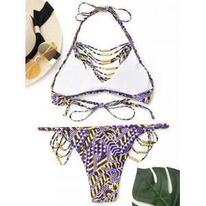 Strappy Halter Bikini Set - PURPLE M