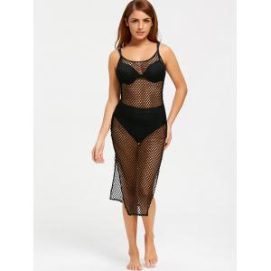 Fishnet Slit Cami Cover Up Dress - BLACK S