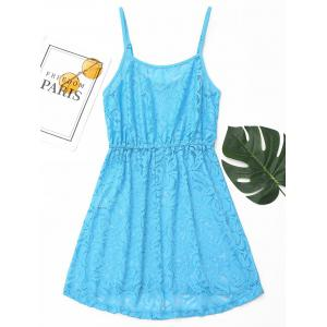 Lace Cover Up Cami Dress - BLUE M