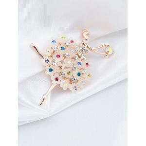 Rhinestoned Flower Dancing Fairy Brooch -