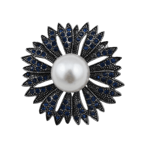 Sparkly Rhinestoned Faux Pearl Floral Brooch - NAVY BLUE
