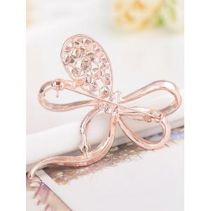 Rhinestone Hollow Out Bowknot Broche en métal - Or Rose