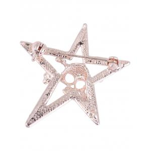 Rhinestone Insert Halloween Skull Star Alloy Brooch - GOLDEN