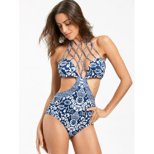 Floral One Piece Strappy Swimsuit - BLUE S