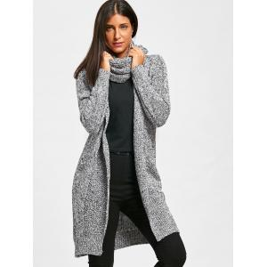Heathered Open Front Cowl Neck Cardigan - LIGHT GREY ONE SIZE