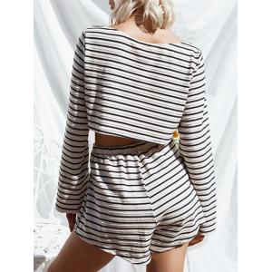 Striped Crop Tee with Shorts - STRIP PATTERN L