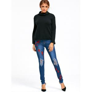 Distressed Plum Flower Embroidery Jeans - BLUE L