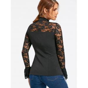 Halloween Lace Yoke Lace Up Blouse - BLACK M